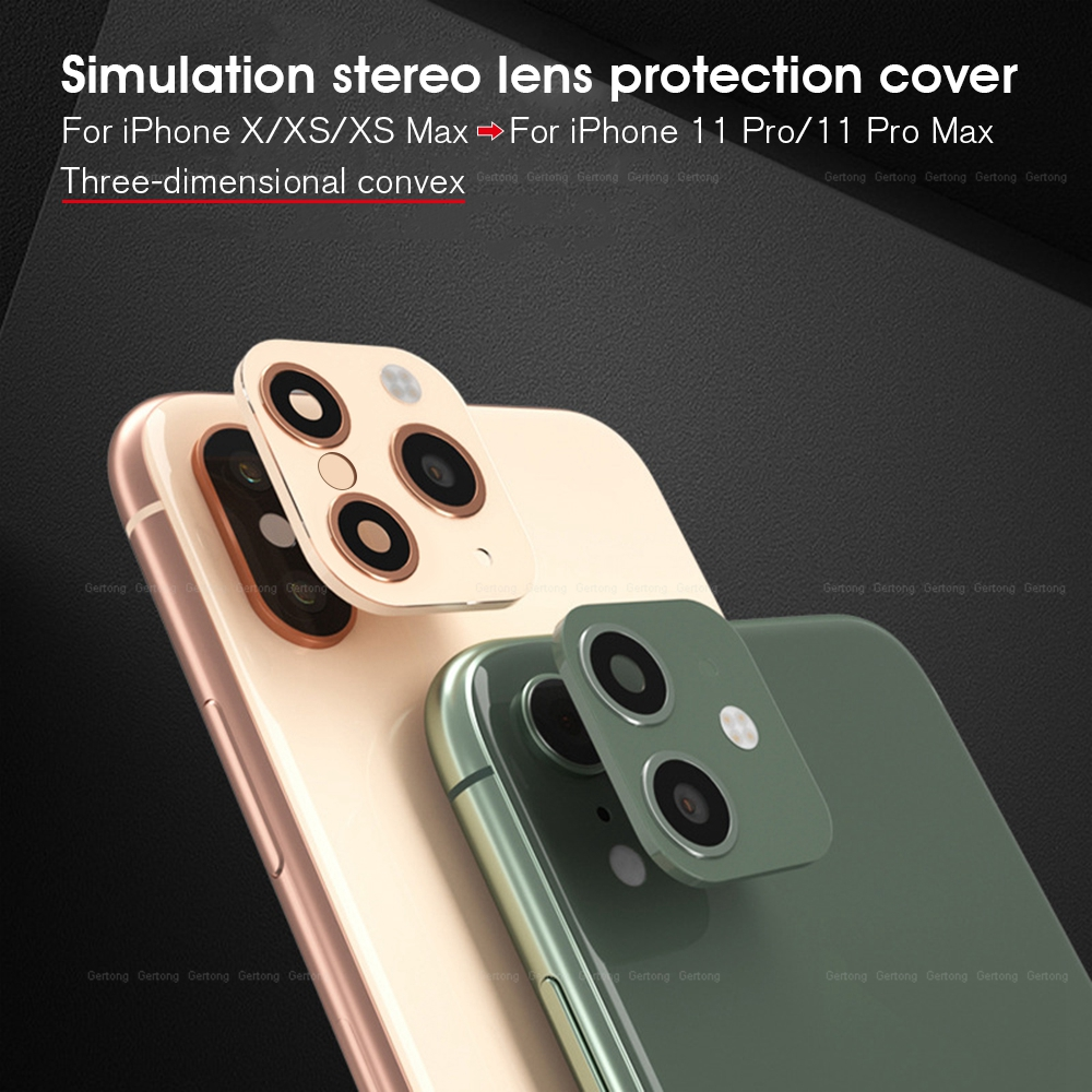 Camera Lens Seconds Change Cover For IPhone X XS XR XS Max Fake Sticker Camera For IPhone 11 Pro Max Metal Lens Protector Ring