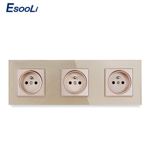 Image 3 - Esooli Crystal Glass Panel French Standard Wall Socket 258*86mm Power Socket Plug Grounded 16A Black Electrical Triple Outlet
