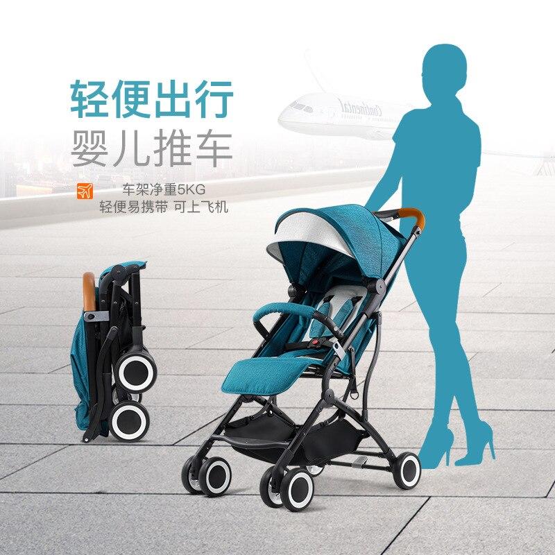 Chariot bébé peut facilement s'asseoir dans la voiture de parapluie inclinable pliant enfant à quatre roues Ultra-léger Oem