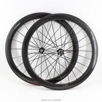 새로운 700c 50mm 도로 자전거 광택 매트 12 k 전체 탄소 섬유 자전거 wheelset 탄소 clincher 관형 림 23 25mm 너비 무료 배송