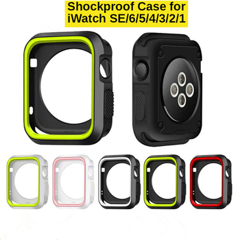 Shockproof TPU Case for Apple Watch Series SE 6 5 4 Double Colors Silicone Watch Cases for iWatch 3 2 1 Armour Protective Cover image