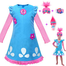 Menina trolls 2 máscara + brinquedo + vestido peruca crianças trajes para o carnaval crianças trajes vestido trolls papoula festa trajes