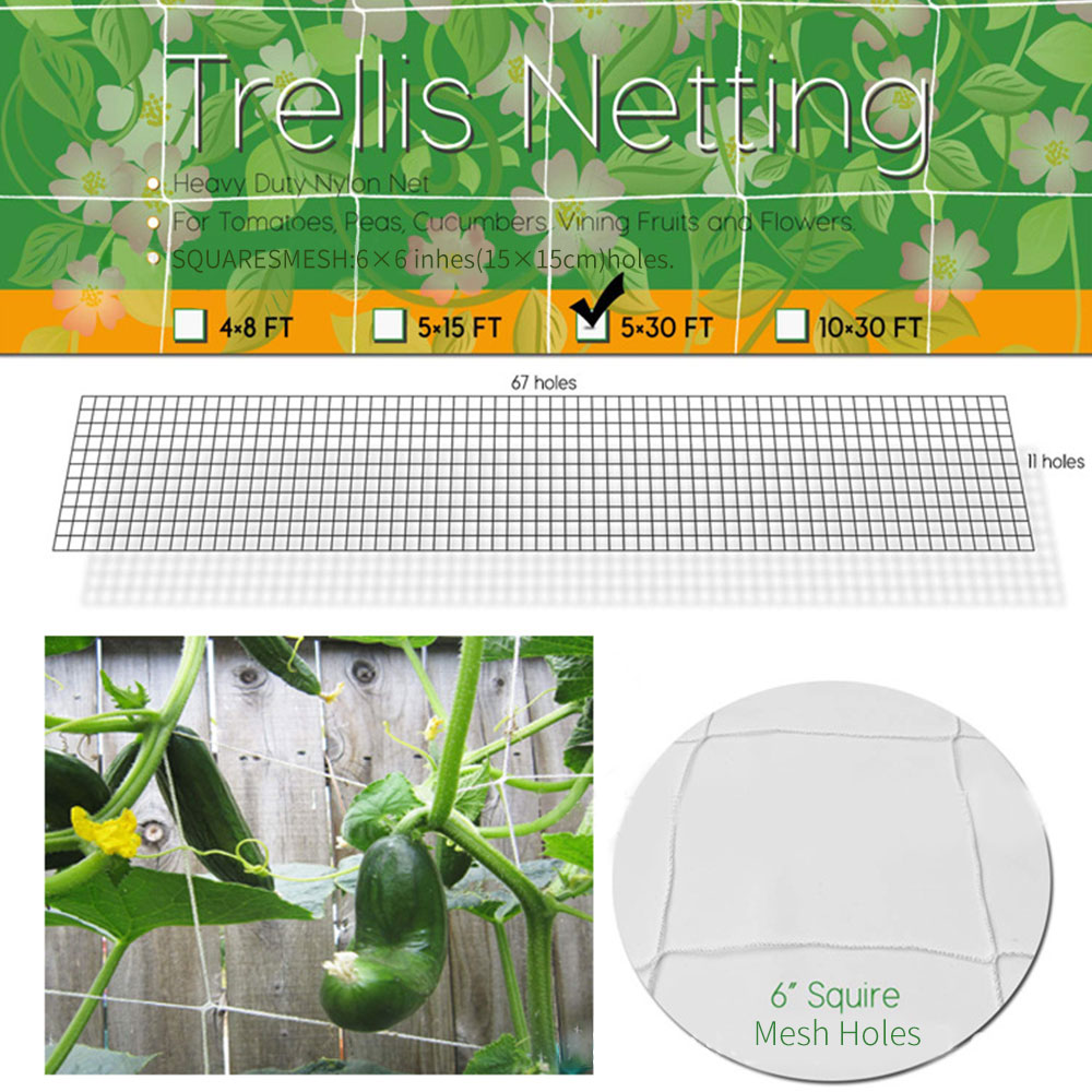 Mesh Polyester Net Loofah Netting For Morning Glory Vine Flowers Garden Plants Climbing Net Cucumber Vine Grow Holder