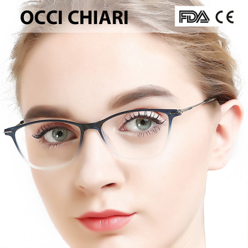 OCCI CHIAR Cat Eye Blue Light Glasses Frame Women Computer Glasses Decorative Myopia Prescription Eyeglasses Frames Fake Eyewear