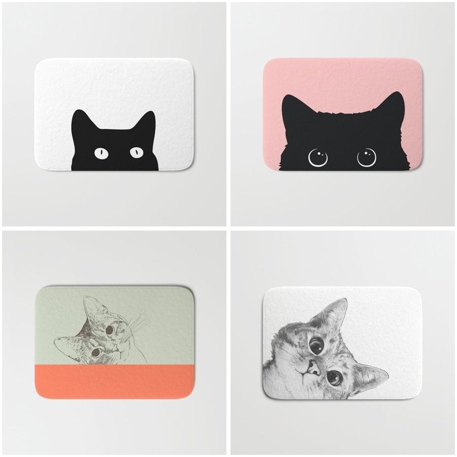 Non-slip Bathmat Black Cat Bathroom Fashion Accessories Bath Mats Doormat Antislip Shower Pad Floor Rugs Carpet Room Door
