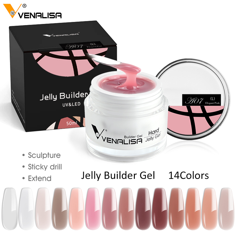 15ml hard jelly builder nail extend gel french nail art DIY Venalisa nail gel clear natural camouflage color fibreglass