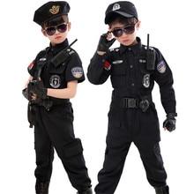 어린이 할로윈 경찰관 의상 어린이 파티 카니발 경찰복 110 160cm 소년 육군 경찰관 코스프레 의류 세트