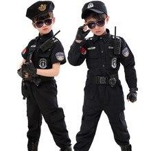 เด็กฮาโลวีนตำรวจเครื่องแต่งกายเด็กCarnivalชุดตำรวจ110 160ซม.ชายกองทัพตำรวจคอสเพลย์เสื้อผ้าชุด