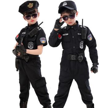 Dzieci Halloween policjant kostiumy Kids Party karnawał mundur policyjny 110-160cm chłopcy policjanci armii ubrania Cosplay zestawy tanie i dobre opinie CN (pochodzenie) Spodnie HOLIDAY Unisex Other Poliester Policemen costumes Police boys uniform Kids Army Police uniform