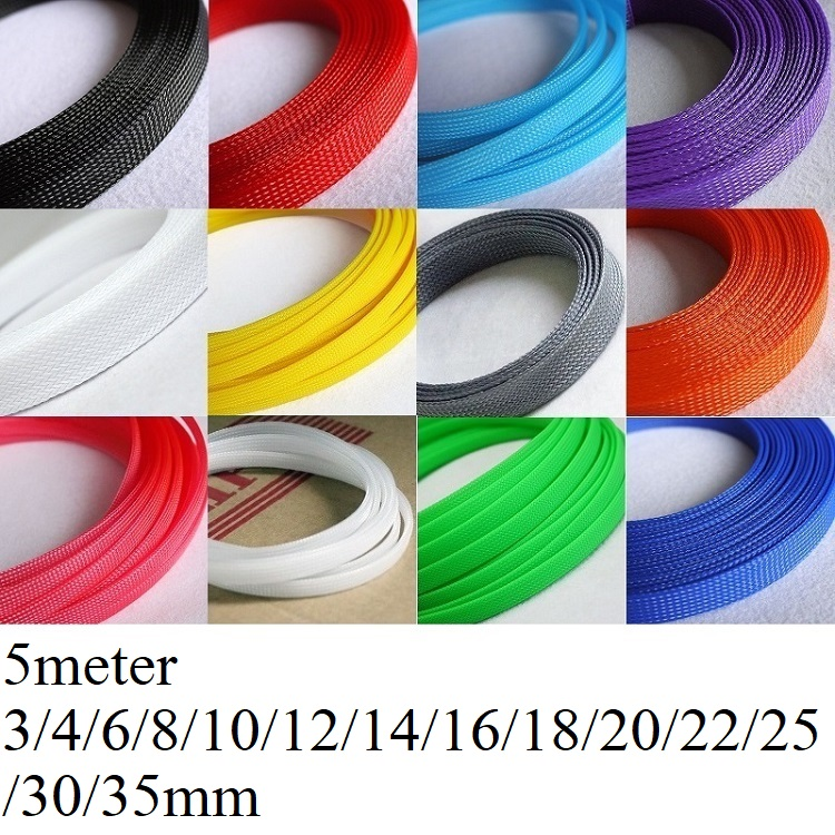5M Cable Sleeve 3 4 6 8 10 12 14 16 18 20 22 25 30 35 40 Mm PET Braided Expandable Wire Sleeving Wrap Insulation Nylon Sheath