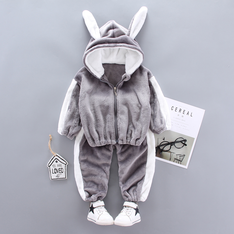 Baby Kids Winter Clothing Set Cute Cat Newborn Thick Warm Cotton-Padded Clothes For Boys Girls Hooded Tops+Pants 2PCS/SET