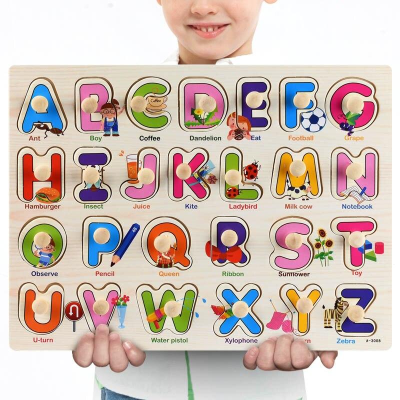 Rompecabezas 3D de madera para niños, juguete educativo para edades tempranas, con alfabeto, transporte de frutas y verduras