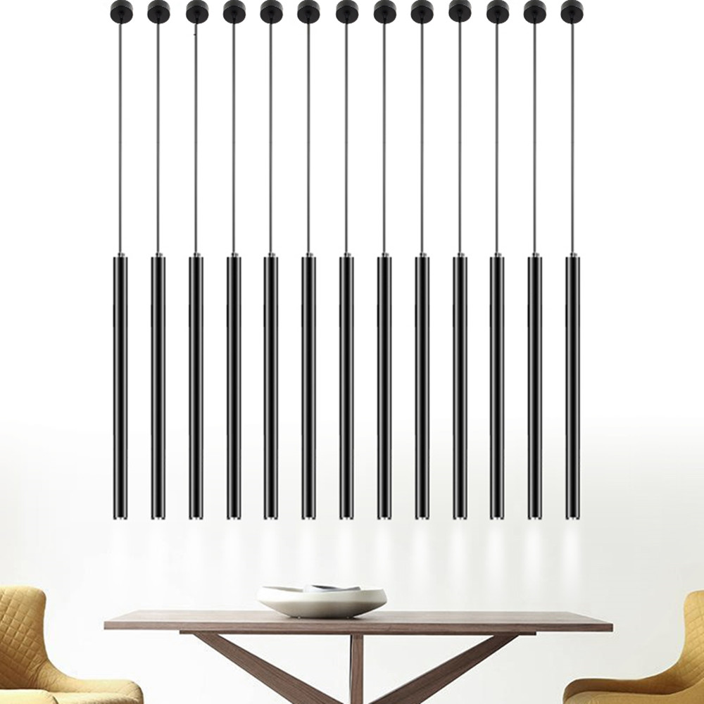 Led Pendant Lamp Long Tube Lights Hanging Lamp Dining Room Shop Decoration Cylinder Pipe Pendant Light Dining Room Kitchen Light
