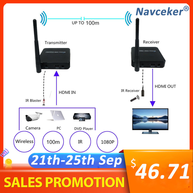 ZY DT216 HD Wireless Transmission System Wireless HDMI Extender Transmitter Receiver Video WIFI 100m Wireless HDMI TV Sender Kit