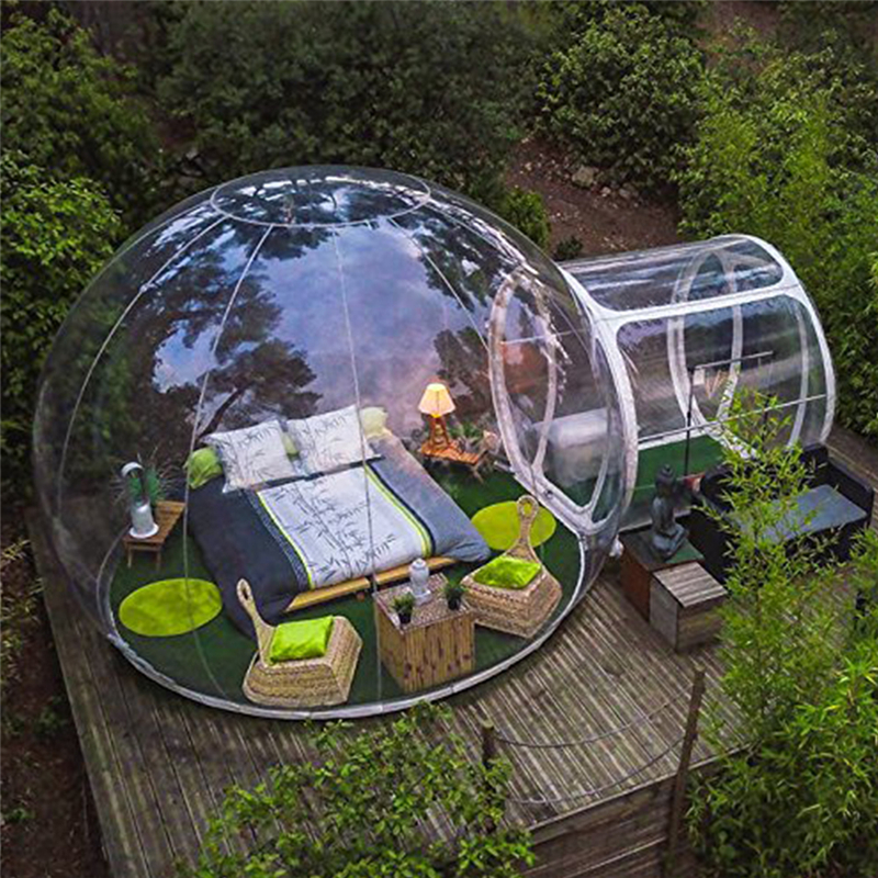 Blower Inflatable Bubble House 2 People Outdoor Single Tunnel Inflatable Camping Tent Family Camping Backyard Transparent Tent
