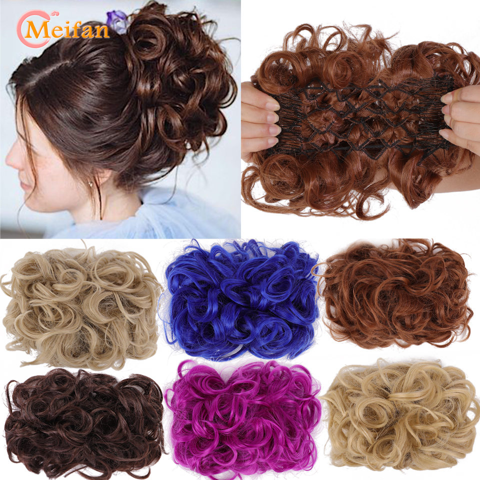 MEIFAN Synthetic Bride Messy Big Hair Bun Curly Chignon with Comb Clips in Chignon Hairpiece updo Cover Hair Tail Extension