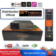 Genuine original Gtmedia V9 Super Satellite Receiver with 1 Years Cccam Cline Freesat Built-in WIFI Same as V8 nova