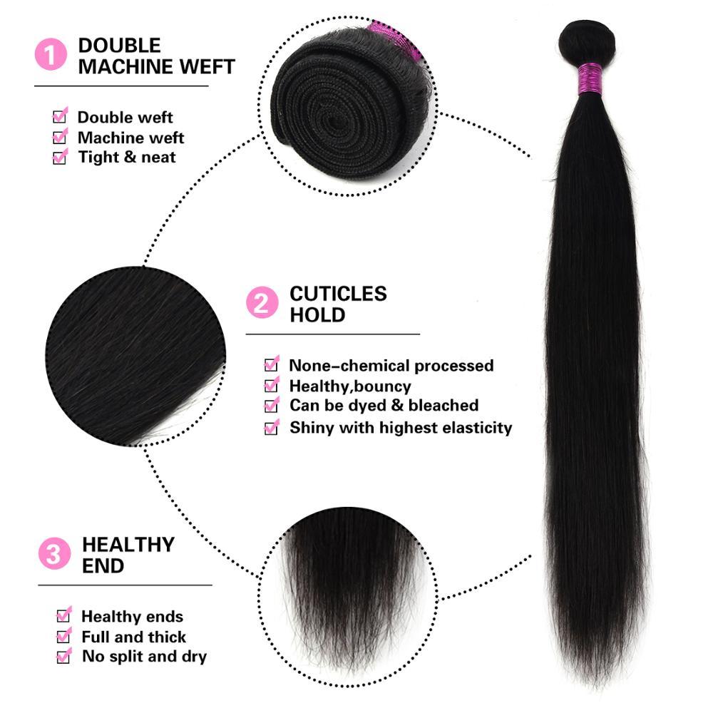 Paruks Brazilian Straight Human Hair Weave Bundles Natural Black 1/3/4 Pcs 100% Human Virgin Hair Extensions Remy Hair Bundles