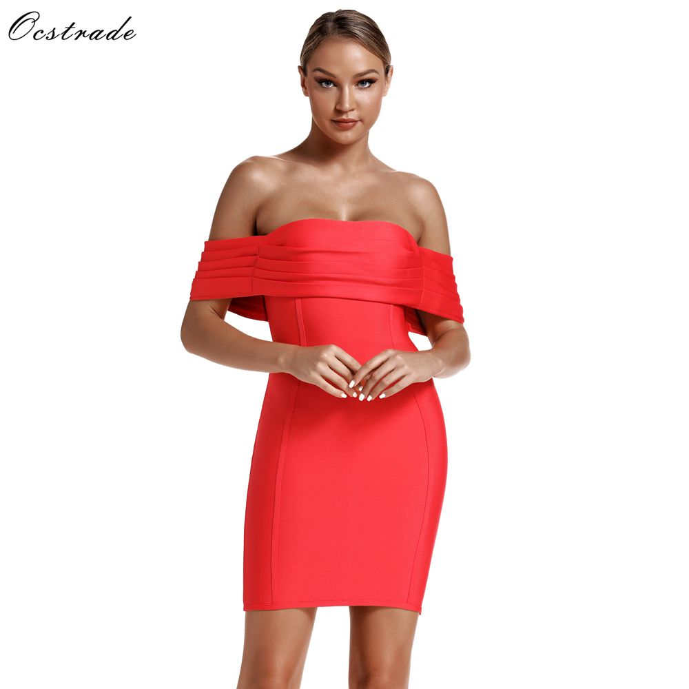 Ocstrade Womens 2019 Spring Fashions Draped Watermelon Red Bandage Dress Bodycon Club Party Sexy Off Shoulder