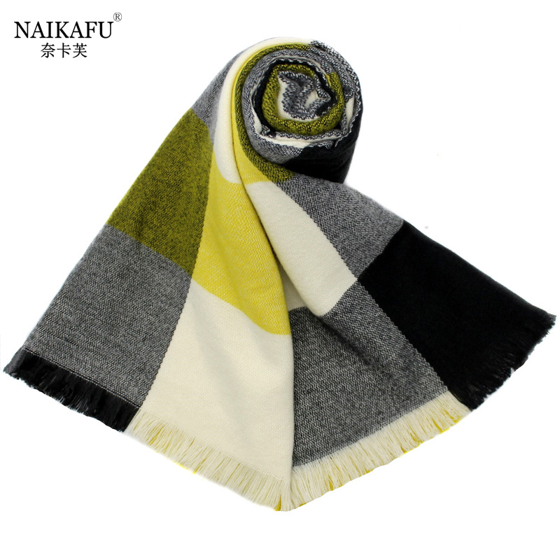 2019 Autumn And Winter New Style Europe And America Faux Cashmere Double-Sided Large Grid Scarf Men And Women Shawl Dual Purpose