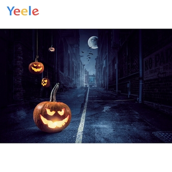 Yeele Halloween Party Backdrops for Photocall Street Pumpkin Latern Moon Backdrop Photo Booth Decor For Photography Backgrounds image