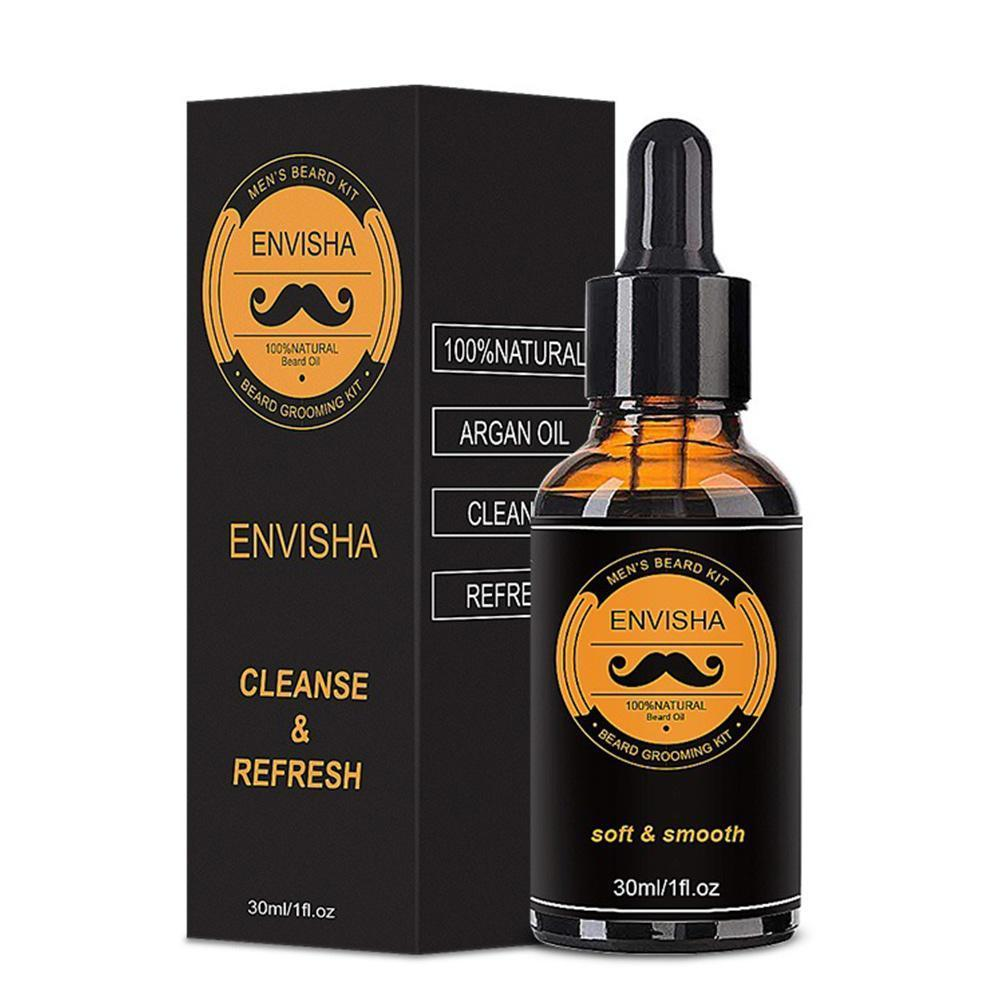 1Set Men Beard Grooming Kit Mustache Beard Hair Growth Oil Styling Tool Beard Essential Balm Comb Moisturize Wax Scissor