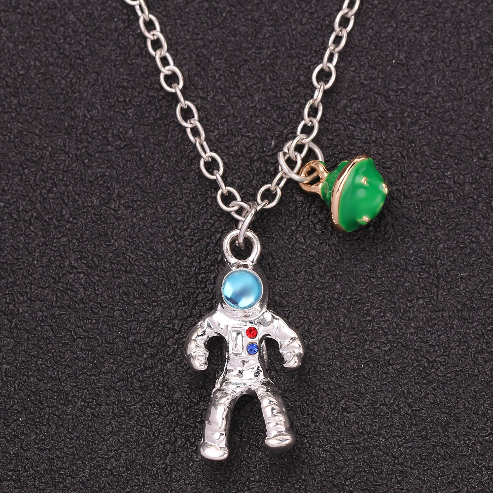 Fashion Astronaut Planet Charm Pendant Necklaces Clavicle Chain Jewelry A