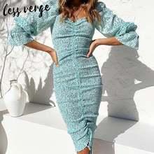 Женское Плиссированное Платье макси с пышными рукавами синее