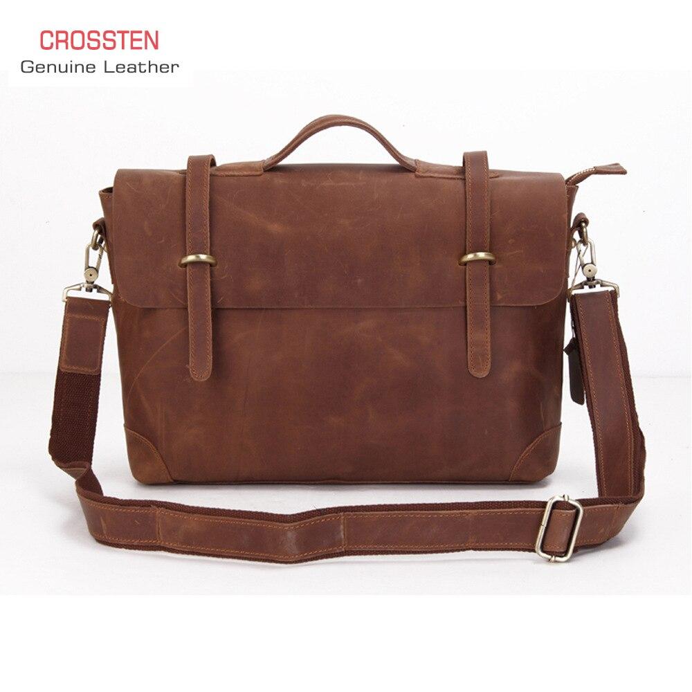 100% Genuine Leather Men's Retro Briefcase Crazy Horse Leather Tote Messenger Bag  15