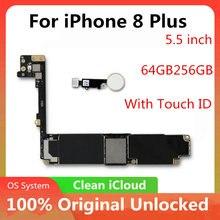 64gb 256gb fábrica desbloquear placa mãe para iphone 8 plus 5.5 polegada ios atualização apoio nenhum toque id placa lógica bom testado