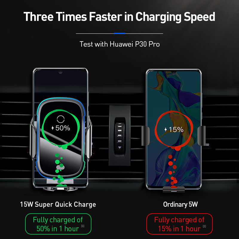 Baseus 15W Wireless Charger Car Mount for Air Vent Mount Car Phone Holder Intelligent Infrared Fast Wireless Charging Charger 4