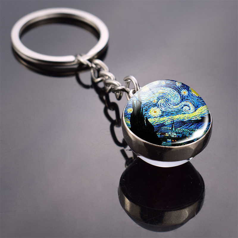Van Gogh Oil Painting Keychain Starry Night Art Picutre Glass Ball Key Chains Van Gogh Jewelry For Men For Women Dropshipping