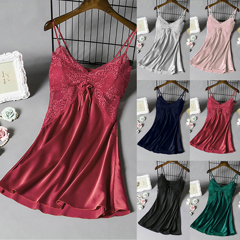 2020 Women Sleep Lounge Sleepwear With Chest Pads Satin Sexy Ladies Nightgowns Silk Night Dress Elegant Lace Sleepshirts