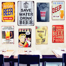 SAVE WATER DRINK BEER Tin Signs Vintage Metal Poster Decorative Plate Plaques Wall Sticker Iron Painting Mix Order A641