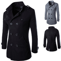Men Winter Trench Coat High Quality Formal Double Breasted Men Overcoat Classic Lapel Collar Fit Solid Wool Blended Male Coat