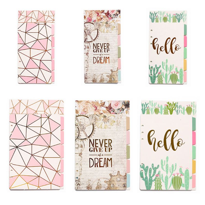 1Set Creative <font><b>A5</b></font> A6 Loose Leaf Notebook Divider <font><b>6</b></font> <font><b>Hole</b></font> Index Separator Diary Paper Planner <font><b>Binders</b></font> Students Staionery image