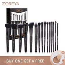 Zoreya marka miękkie syntetyczne włosie zestaw pędzli do makijażu makijaż oczu narzędzie okrucieństwo czarny mieszanie zagnieceń fundacja szczotki Box prezent