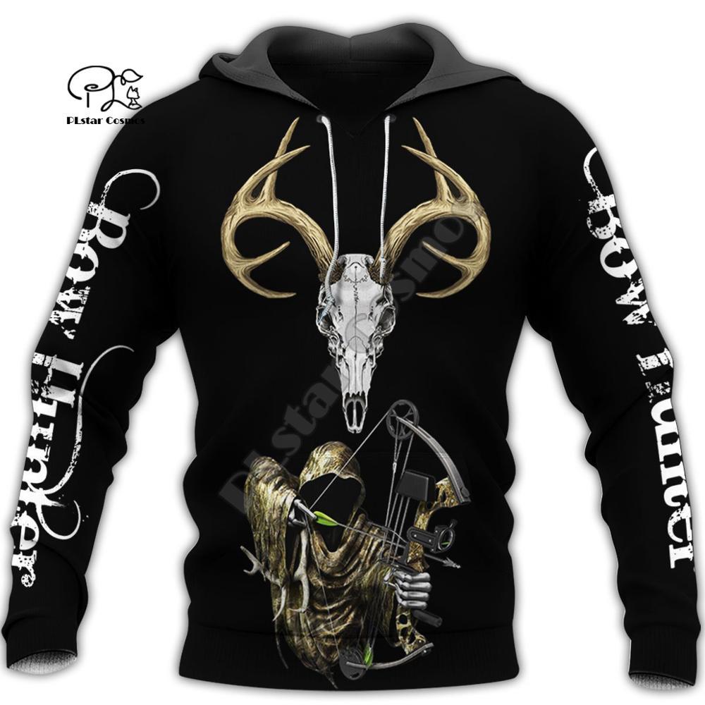 PLstar Cosmos Animal Deer Bow Hunting Hunter Causal Harajuku New Fashion 3DPrint Zipper/Hoodies/Sweatshirt/Jacket/Men/Women S-19