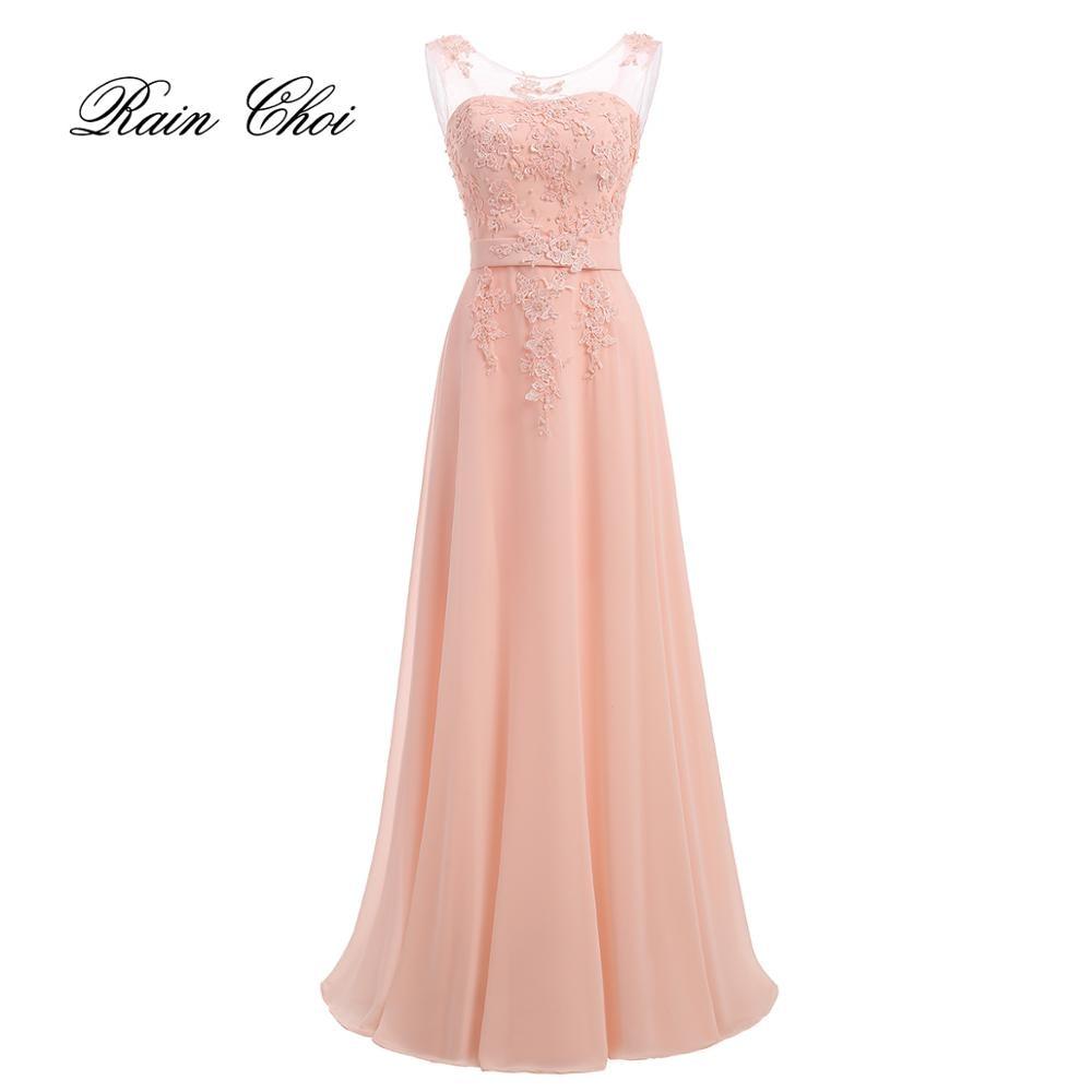 Long Evening Dresses 2019 Applique A Line Chiffon Formal Gown