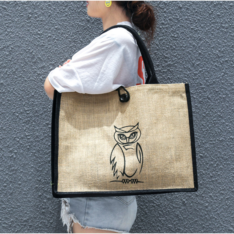 Fashion Vintage Jute Tote Women's Bag High Quality Shopping Environment Cartoon Print Large Capacity Women Beach Shoulder Bags