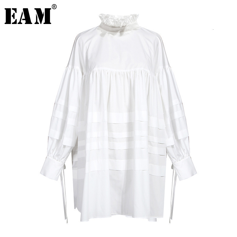[EAM] Women Ruffles Split Joint Big Size Blouse New Stand Collar Long Sleeve Loose Fit Shirt Fashion Spring Autumn 2019 1D464