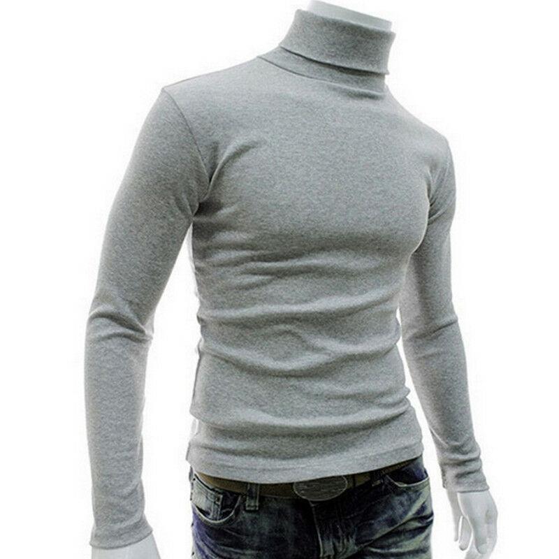 Winter Warm Men Thermal Underwear Long Sleeve Pullover High Neck Turtleneck Stretch Slim Basic T Shirt Jumper Knit Sweater Top