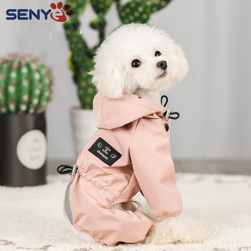Impermeable Perro Dog Clothes Jacket Waterproof Mesh Breathable Sweat-Absorbent Reflective Dog Raincoat Coat Roupa Puppy Abrigo 1