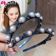 Molans Non-Slip Alice Hairband Pearl Headband Women Hair Bands Hoop Claws Clips Double Bangs Hairstyle Hair Accessories Hairpins