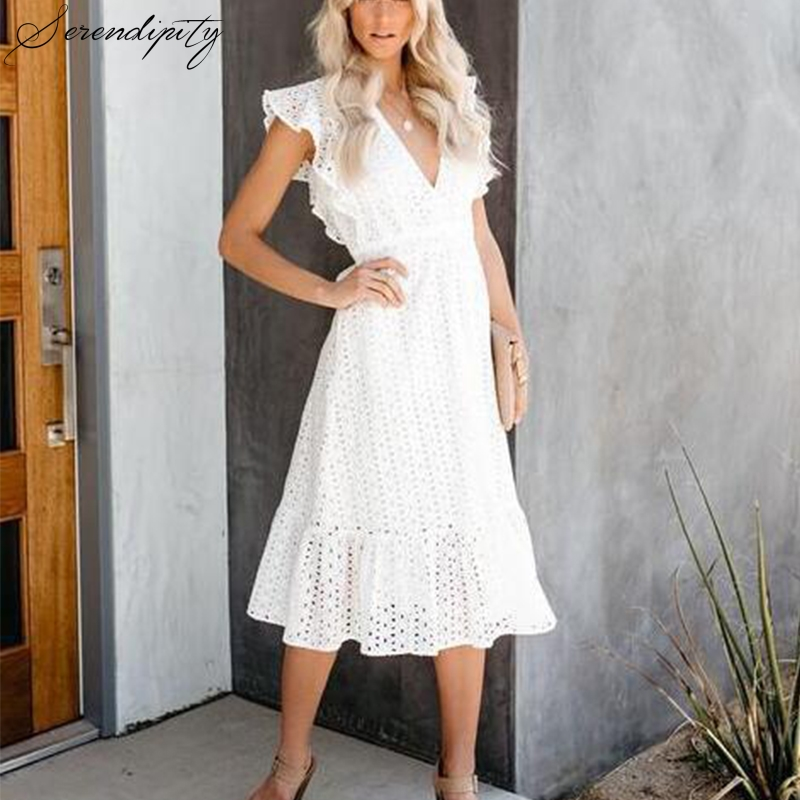 Hollow Out White Deep V Neck Ruffle White Lace Summer Dress Women Vacation Beach Sexy Dress Sleeveless Long Party Elegant Dress