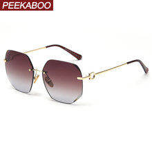 Peekaboo gradient women rimless sunglasses square 2020 summe