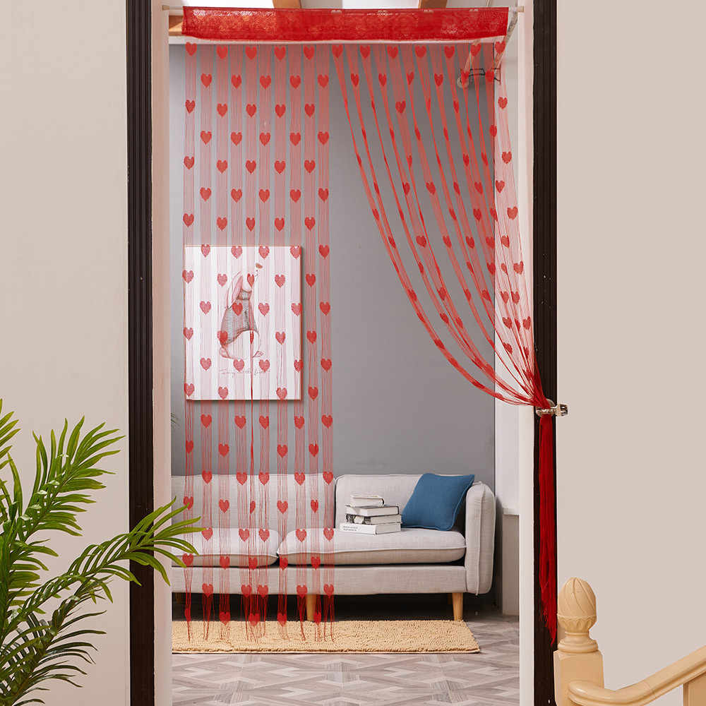 50x200cm Love Heart String Curtain Window Door Divider Sheer Curtain Valance special design cortinas para la sala#A
