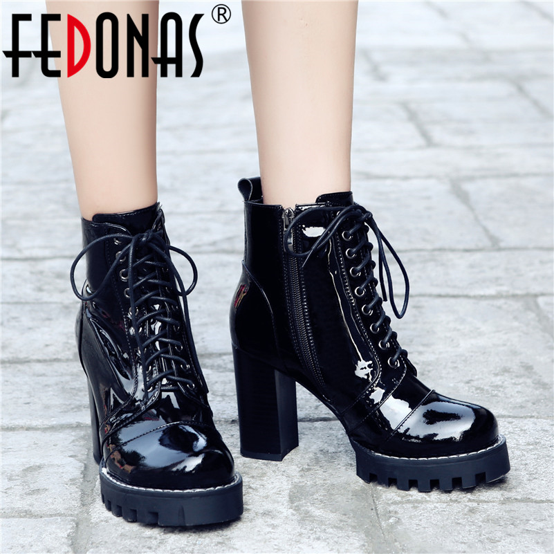 FEDONAS Autumn Winter Quality Cow Patent Leather Women Ankle Boots Night Club Shoes Woman Zipper Cross Tied Punk Short Boots