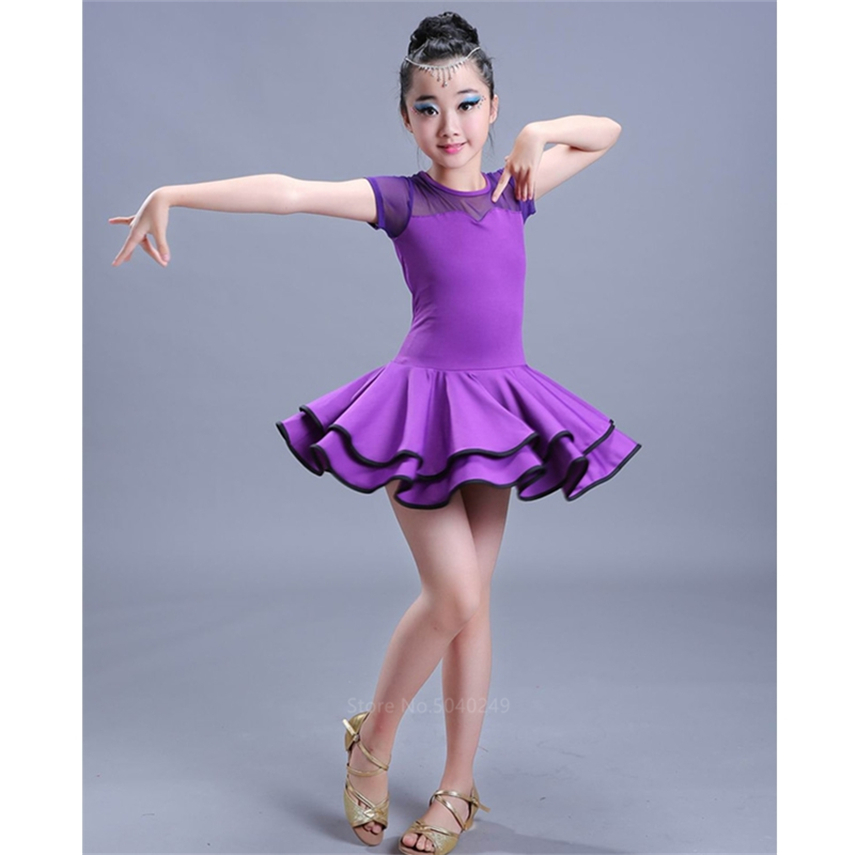 Dancing Dresses For Kids Salsa Tango Tutu Skirts Children Latin Dance Dress For Girls Short/Full Sleeve Vestidos Dance Costumes