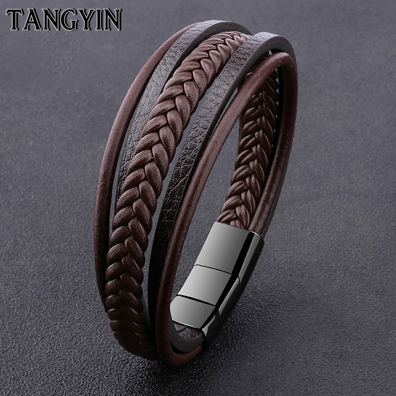 TANGYIN Trendy Men Jewelry Classic Genuine Leather Bracelets Men Double Stainless Steel Multilayer Braided Cuff Rope Bracelets